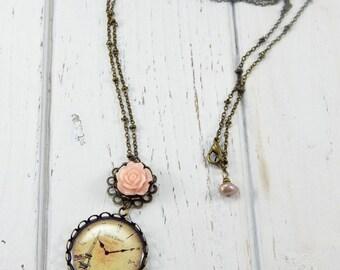 Paris Necklace, Eiffel Tower Necklace, Resin Rose Charm, Vintage Style Necklace, Paris Jewelry, Antique Bronze Jewelry
