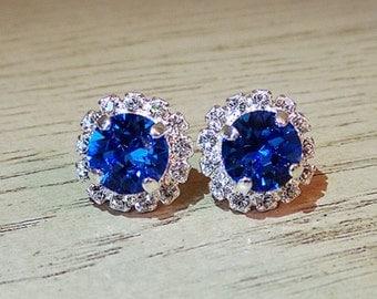 Swarovski Sapphire Crystal - Sapphire Jewelry - Sparkly Swarovski  - Halo Stud Earrings - Sapphire Crystal Studs - September Birthday
