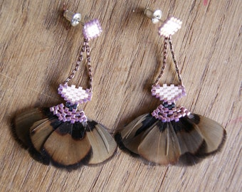 Mastani - Earrings Brown and copper pink