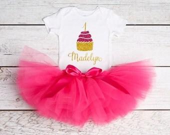 1st Birthday Outfit, First Birthday Outfit, 1st Birthday Onesie, Personalized Onesie, Gold Pink Birthday Tutu, Girls Birthday Cupcake Outfit