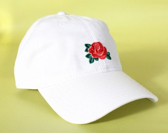 NEW Rose Baseball Hat Dad Hat Low Profile White Pink Black Casquette Embroidered Unisex Adjustable Strap Back Baseball Cap