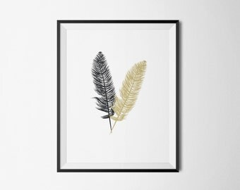 Gold Feathers, Grey Feather Print, Wall Prints, Gray Feather Wall Art, Gold Feather Artwork, Black Feather Poster, Father Wall Hanging