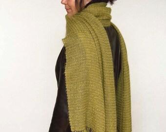 Handwoven shawl, green and tan. Summer shawl. Elegant bridal shawl. Handwoven pashmina kidmohair. Silky handwoven shawl.