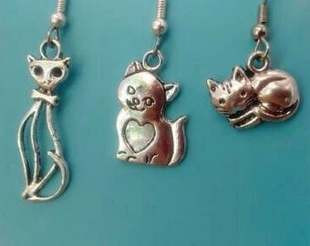 CAT EARRINGS, Cat jewelry, Cat Necklace, Silver Cat Earring, Pussy Cat Jewelry,Feline Cat Earring,Little Cat Earrings,Jewelry for Cat Lovers