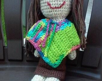 "Handmade 16"" Cotton Crochet Hippie Doll"