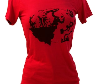 Zombie Apocalypse Gorilla Red Graphic Tee, Unique Womens Gift, Doomsday Prepper, Womens Screen Print Cotton Tshirt