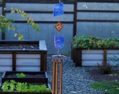 Wind Chime Sea Glass with Copper beach glass stained glass wind chimes