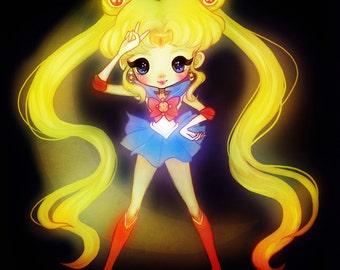 Sailor Moon - 5 x 7 Print - illustration art fanart love anime design usagi manga kawaii girl pretty soildiers sailor scouts stars