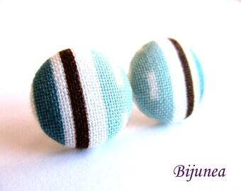 Stripe earrings - Blue stripe stud earrings - white stripes posts - Baby blue stripes post earrings sf1313