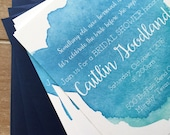 Watercolor invitation, bridal shower invitation, something blue bridal shower, beach bridal shower, blue watercolor, RESERVED for Katie