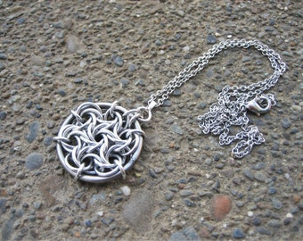 Moorish Rose Spiral Necklace - Silver Chainmail