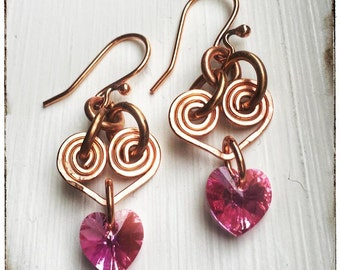 Rose Pink Hearts Crystal & Copper Wire Wrapped Dangle Earrings, Valentine earrings, Copper heart earrings, Boho, Bohemian, Girlfriend Gift