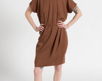 Vintage 80s Brown Pleated Mini Wrap Dress | S