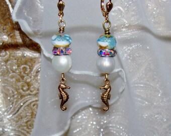 Seahorse charm fresh water pearl and aqua Picasso beach earrings Pamelia Designs Sacred Jewelry