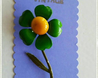 Green and Yellow Enamel Vintage Brooch