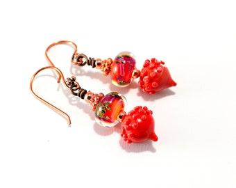 Small Lampwork Bead Earrings. Fall Colors. Red-Orange Earrings. Dangle Earrings. Artisan Headpins. Boho Glass Bead Earrings. Gifts For Her.