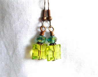 Green Drop Earrings Crystal and Acrylic Square Rounded Cube Sparkle Beaded Steel French Hooks Antiqued Copper Accents