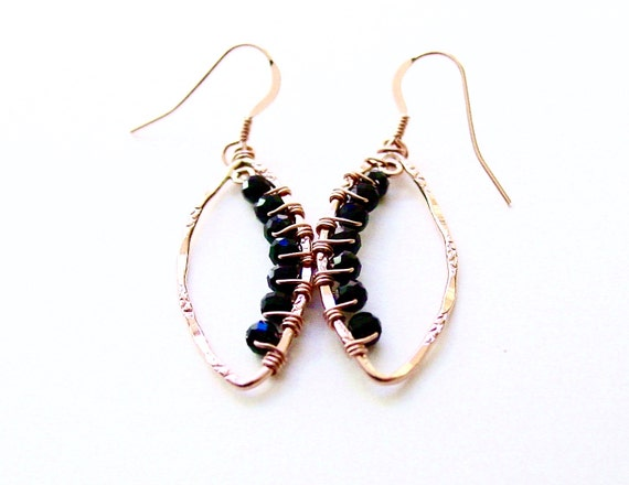 Black Spinel Rose Gold Earrings Wire Wrapped