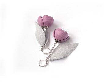 Leather earrings with Pink rose flowers and light grey leaves. Leather floral jewelry