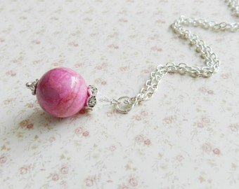 Pink necklace, pink pendant, romantic jewelry, crystal necklace, for her, silver, Europe