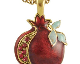 Jeweled Pomegranate Necklace  One of Seven species in the Holy land of israel