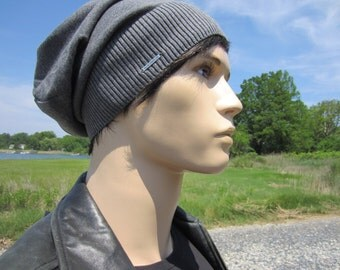 Basic Gray Beanie No Words, Lightweight Hats Summer Slouchy Beanie Charcoal Grey Plain Cotton Knit Slouch Tam A1999