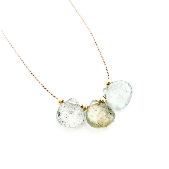 Gold Moss Aquamarine Necklace, Aquamarine, Tear Drop, Silk Cord Necklace Tiny, Dainty, Minimalist, Layering Necklace, Bohemian Jewelry, Boho