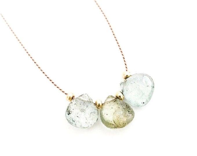 Gold Moss Aquamarine Necklace, Aquamarine, Tear Drop, Silk Cord Necklace Tiny, Dainty, Minimalist, Layering Necklace, Bohemian Jewelry, Boho