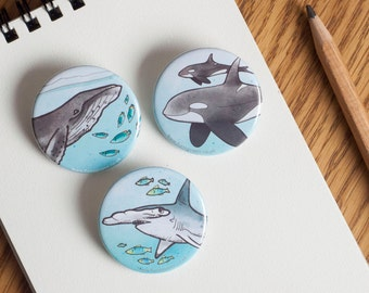 Sharks and Whales Badges - Orca, Hammerhead and Humpback whale - 38mm diameter