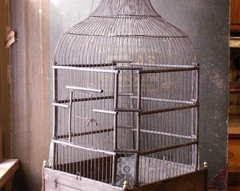 Vintage Large Asian Inspired Square Wood Birdcage - Exotic Wedding Decor