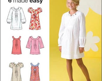 Simplicity Pattern 2715 Girls' Dresses and Tunics Sizes 7-16 NEW