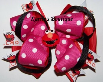 Elmo Hair Bow or Headband / Pink / Orange / Black / 123 Sesame Street / Big Bird / Birthday / Photo / Infant/ Baby/ Girl/ Toddler/ Boutique