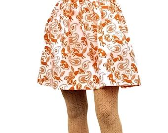 "Flannel Skirt Fox Print Midi Skirt in Brown and White ""Foxy Jane"""