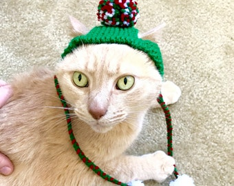 Christmas Pom Pom Cat Hat - Green, Red, and White with Strap Pom Poms -Hand Knit Cat Costume