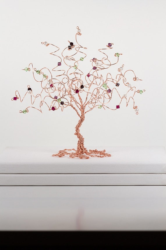 Family Tree Birthstone Wire Tree Sculpture Custom Art Decor Mothers Day Gift