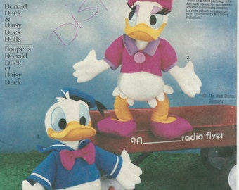 UNCUT Simplicity 7636 Disney Donald and Daisy Duck Dolls