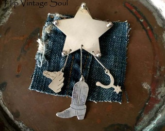 Vintage 1980's Tasco Silver Jewelry, Western Star Brooch, Mexico 925 Jewelry, Silver Star/Cowboy Boot/Horse Head/ Spur Brooch