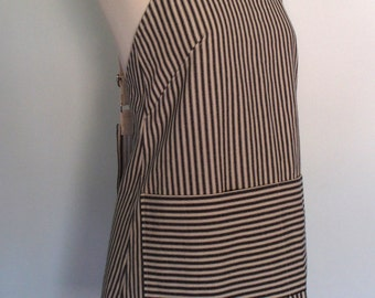 Black Stripe Japanese Apron, Crossback Apron, Canvas Apron, Black and Cream Ticking Stripe Fabric, Cotton Duck Canvas, Short or Long Length