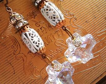Crystal Cross Dangle Earrings, Rustic Earrings, Rhinestone, Swarovski Elements Vintage Repurposed Assemblage Upcycled Religious OOAK Jewelry