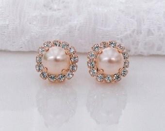 Peach Blush Bridal Earrings Peach Pearl Blush Rose Gold Blush Bridesmaids Peach Wedding Swarovski Crystal Peach Blush Pearl Bridal Earrings