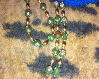 Gold Filled Handpainted 14 KT Cloisonne  Necklace