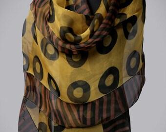 Silk Scarf Chartreuse Evening Wrap Hand Dyed Organza Shibori Wrap
