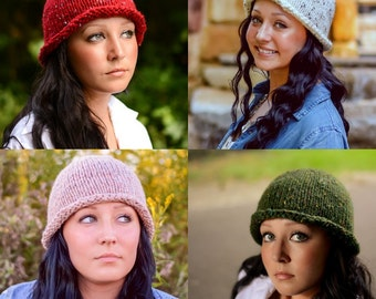 Custom Knit Hat: Rolled Brim Bucket Hat, Retro Knit Hat, Made to Order, Custom Color Selection, Handmade in the USA