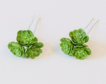 Mini Succulents Hair Flower Petals Pin Wedding Headpiece - Beach Party - Set of 2