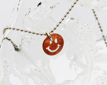 Smiley Face Pendant, American Coin Jewelry, Genuine Penny Pendant, Cut Out Coin, Rustic Pendant, Unisex Gift, Everyday Jewelry, Stamped Coin
