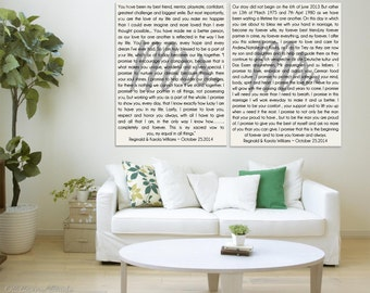 Wedding vows etsy wedding vows canvas his and hers vows wedding vows art mrs and mr junglespirit Image collections