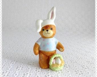 Teddy Bear Figurine, Lucy and Me, Easter Decor, Enesco 1980, Vintage Collectible, Porcelain Bear, Bunny Ears, Easter Basket