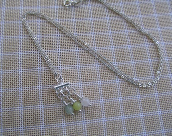 3 tiny gemstones dangle pendant sterling silver necklace