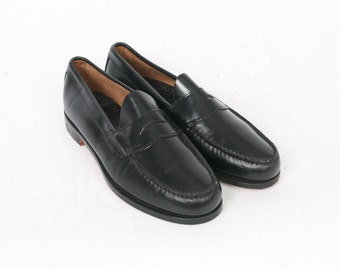 G H BASS Mens US 10.5 Black Leather Casual Formal Slip On Loafers Moc Toe Vintage AU 9.5 Boat Shoes