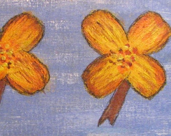 FLOWERS 271 - Original Acrylic Painting in Handcrafted Frame 16.75x4.5 No. 271